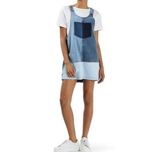 TopShop Motor Patchwork Pinafore Dress